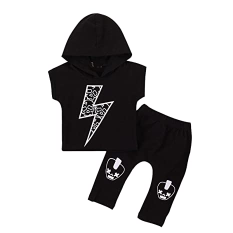 2 Unids/set Baby Boy Conjuntos de ropa Fashion Boy Lightning Print Hip-hop