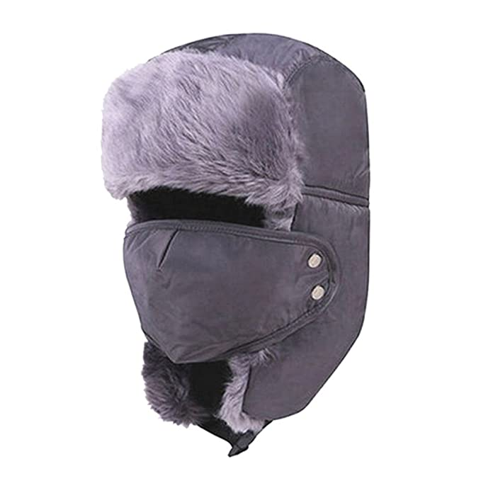 0ea38310429 Image Unavailable. Image not available for. Color  Lurrose Winter Hat with Ear  Flaps Ushanka Hat Skiing Hats Trapper Hat Snow Hat mask for