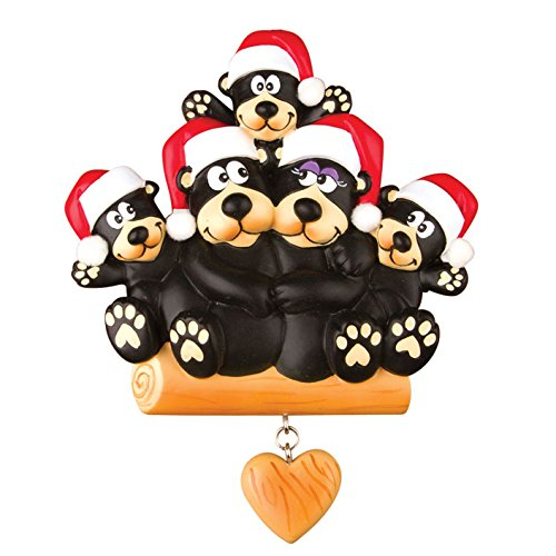 PERSONALIZED CHRISTMAS ORNAMENTS FAMILY-BLACK BEAR FAMILY OF 5