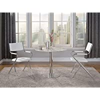 Milan NOVA-JULIET-3PC Nova Jazz White Round Pedestal 5 Piece Dining Set with Director Chair