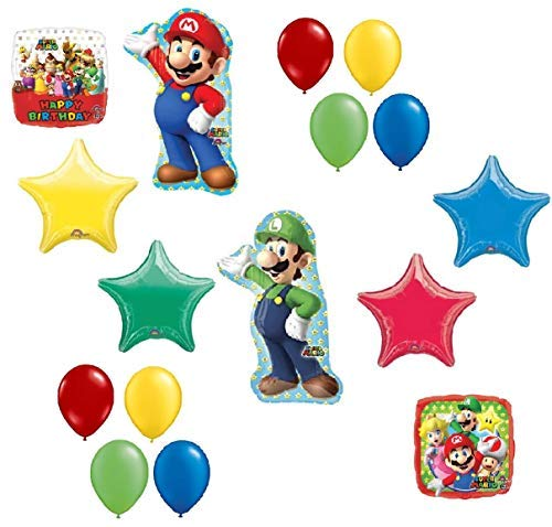 Super Mario Brothers Mega 16 Piece Foil Mylar and Latex Balloons Birthday Party Decoration Set -