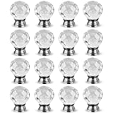 Hewnda 16Pcs 40mm Diamond Cut Clear Crystal Glass Kitchen Drawer Door Knob Cupboard Pull Handle Hardware for Bedroom Furniture, Bedside Cabinet, Dresser Unit and Chest