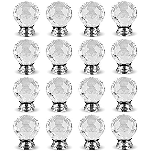 Hewnda 16 pcs 40mm Crystal Glass Kitchen Drawer Door Handle Cupboard Cabinet Handle Bedroom Furniture, Nightstand, Dressing Table and Chest Handle