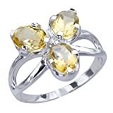 Sparkling Genuine Natural Citrine Gemstones Womens Sterling Silver Jewelry Womens Ring