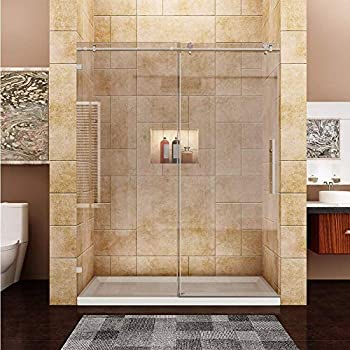 60 Quot W X 79 Quot H Fully Frameless Sliding Shower Door 3 8 Quot Clear Glass Brushed Nickel Finish