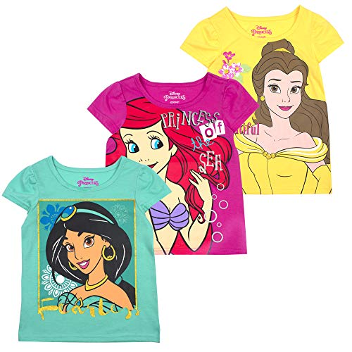 Disney Princess T-Shirts for Girls - 3 Pack Short Sleeve Graphic Tees 3T Grey]()