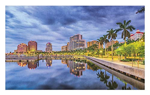 Lunarable Miami Doormat, West Palm Beach Florida Waterway Palm Trees Park Stormy Weather City Relaxation Areas, Decorative Polyester Floor Mat with Non-Skid Backing, 30