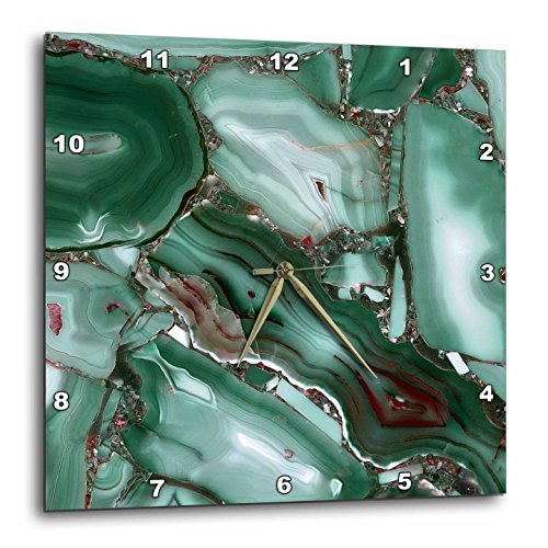 3dRose Art Print of Luxury Green Marble Agate Gem Mineral Malachite Quartz Wall Clock 15 x 15