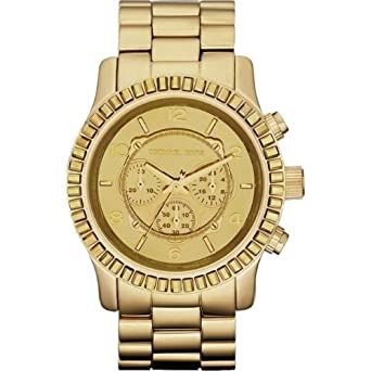 a76d9f5a735f7 Amazon.com  Michael Kors Runway Oversized Gold Tone Glitz Watch MK5541   Watches