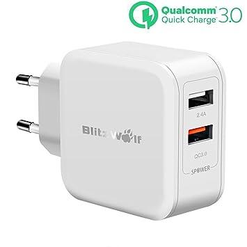 [Quick Charge 3.0] Cargador USB Doble, BlitzWolf 30W 2 Puertos Cargador Móvil QC3.0 Carga Rápida & 2.4A con Tecnología de Power3S Cargador USB Pared ...