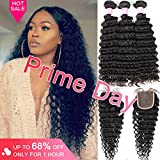 Brazilian Human Hair Virgin 3 Bundles with Closure Deep Wave Hair 3 Bundles with Middle Part Closure Unprocessed Virgin Human Hair(14 16 18+12)