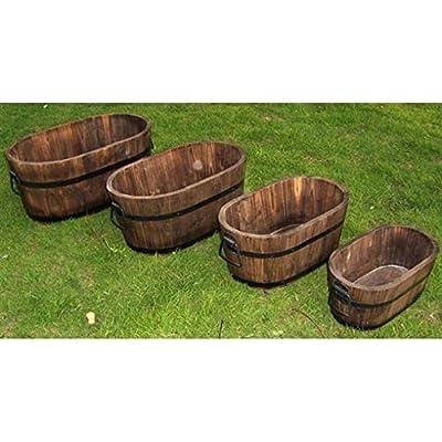 DeVault Enterprises Oval Wooden Planters : Garden & Outdoor