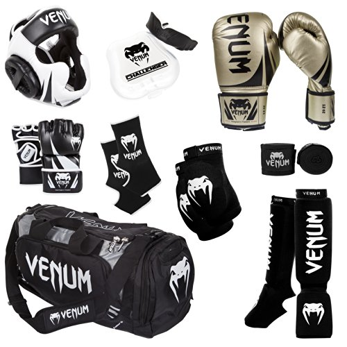 - Venum Challenger 2.0 MMA Training Bundle, Gold Gloves, Black In-Step Shinguards, Black MMA Gloves, Black Headgear, Black Handwraps, Black/White Mouthguard, Black Sport Bag, Black Ankle Support, Black Elbow Protector, 16-Ounce Boxing Gloves, Small MMA Gloves