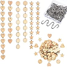 Mtlee 120 Pieces Wooden Tags Circle Heart Star Wood Craft Chips Slices with 2 Holes and Stainless Steel S Hooks for Arts Crafts DIY Valentine Decorations