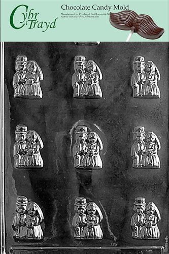 Cybrtrayd W003 Bride and Groom Mints Chocolate Candy Mold with Exclusive Cybrtrayd Copyrighted Chocolate Molding Instructions Bride And Groom Candy Molds