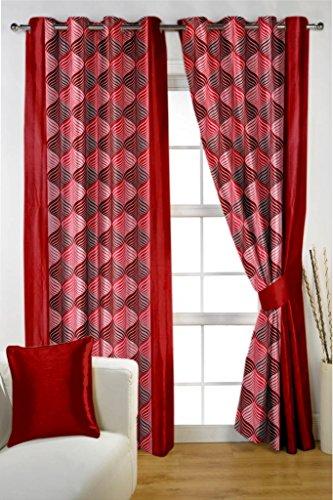 HOMEC Trendy Printed Door Curtains Set of 2 (Size – Door 46 X 84 inch/Color – Red)