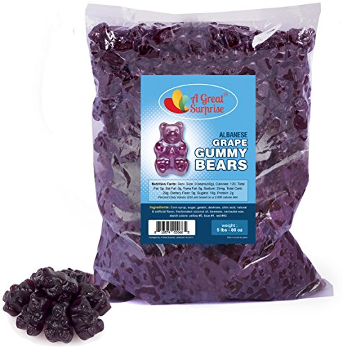 Gummy Bears Bulk - Purple Gummie Bears - Grape Gummies - Gummi Bears Purple - Bulk Candy 5 LB