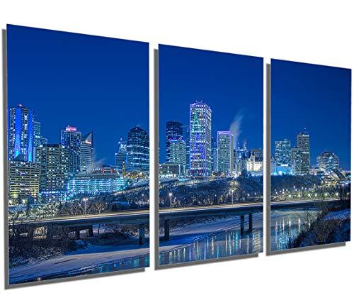 48 x 24 Total - Edmonton Skyline, Alberta - Metal Print Wall Art. 3 Panel Split, Triptych HD Aluminum Multi Panel (Wall Metal Art Edmonton)