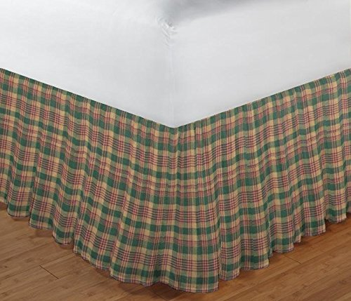 Patch Magic Green, Warm Brown and Red Plaid Fabric Dust Ruffle, (Cottage Plaid Bedskirt)