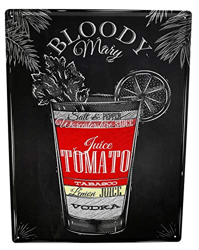 Tin Sign XXL metal plate plaque Bar Party Bloody Mary recipe ()
