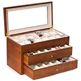 Time Factory AJ-BB686BRW Cherry Wood 36 Watch Box with Glass Top & 2 Drawers, Velour Lining & Pillows, Brown