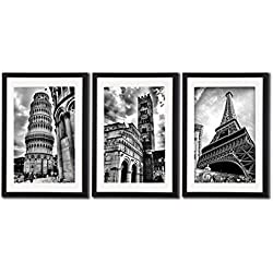Framed Paris Italy Landmark Wall Art Posters For Office Decoration The Eiffel Tower Decor Leaning Tower Of Pisa Lucca Cathedral Artwork Photos Paintings On Canvas Frame Mat Black & White Picture Print