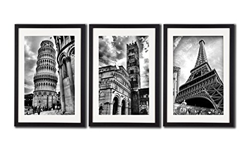 Framed Paris Italy Landmark Wall Art Posters For Office Decoration The Eiffel Tower Decor Leaning Tower Of Pisa Lucca Cathedral Artwork Photos Paintings On Canvas Frame Mat Black   White Picture Print