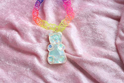 Holographic Iridescent Hologram Gummy Bear Candy Rainbow tattoo Choker Necklace For Women Teens Rave Festival Jewelry