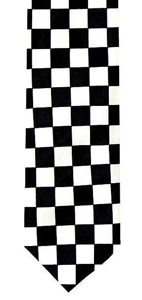 corbata Hombre Mujer crawatt cuadros corbata Negro Blanco Rocker ...