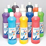 Ready Mixed Water Based Paint for Painting Arts & Crafts in 6 Assorted Colours - Kids / Adult Craft Set (6 x 600ml Bottle)