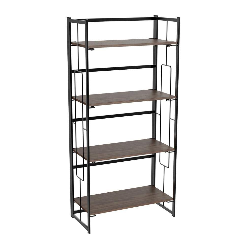 Yaheetech Folding Ladder Bookshelf Rack, Vintage 4-Tier Foldable Bookcase Metal Frame Book Storage Holder Shelf
