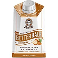 Califia Farms Hazelnut Better Half Coffee Creamer, 16.9 Oz | Coconut Cream and Almondmilk | Half & Half | Keto | Dairy Free | Plant Based | Nut Milk | Vegan | Non-GMO