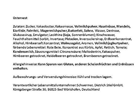 Osternest gefüllt mit Osterpralinen, Krokantei und mit Ostergras im ...
