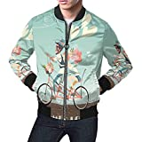 InterestPrint Wedding Couple on Bicycle Men's Bomber Jacket L