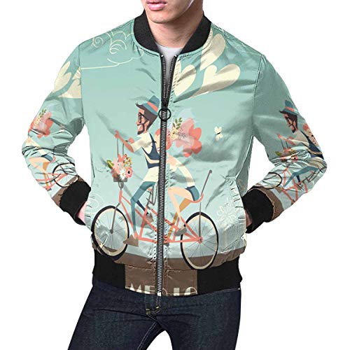 InterestPrint Wedding Couple on Bicycle Men's Bomber Jacket L by InterestPrint