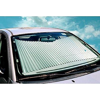 Dash Designs 23 inch Universal Fit Retractable Auto Windshield Sunshade for Ford F-150 Trucks, Most SUV, Honda Civic
