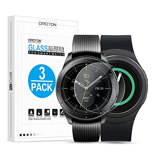 OMOTON Tempered Glass Screen Protector Compatible Samsung Galaxy Watch 42mm/ Gear S2/ Gear Sport [3 Pack]