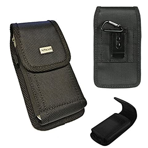 Motorola Nexus 6 / Huawei Nexus 6P ~ Ultra Rugged Pouch Holster Black Nylon Carrying Case With Steel Metal Belt Clip With Carabiner [Fits With Protective Skin Case Cover Or Naked (Nexus 6 Cell Phone Case)