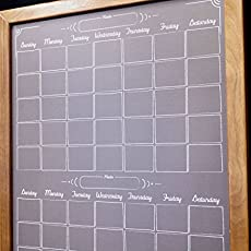 two month black chalkboard calendar dry erase board whiteboard wood framed