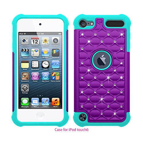 Touch 5 / Touch 6 Case, Berry Accessory(TM) Studded Rhinestone Crystal Bling Hybrid Armor Case Cover for Apple iPod Touch 5 / iPod Touch 6 With Free Berry logo stand holder (Purple / Mint Green)