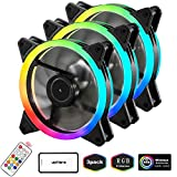 upHere 120mm RGB LED PC Cooling Fan for Computer Case, Ultra Quiet High Airflow Adjustable Color LED Case Fan with Remote Controller- 3 Pack (RGB123-3)