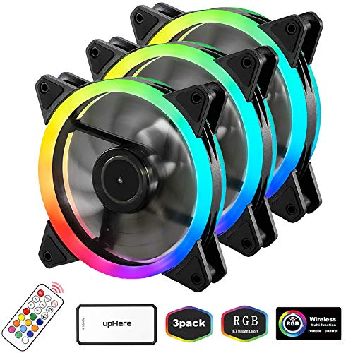 upHere 3-Pack Wireless RGB LED 120mm Case Fan,Quiet Edition High Airflow Adjustable Color LED Case Fan for PC Cases, CPU Coolers,Radiators System,RGB123-3 ()