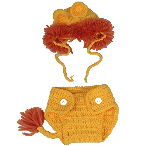 [AiXiAng Newborn Infant Baby Photography Prop Baby Handmade Crochet Knitted LION Costume Hat Set Animal Hat Patterns Christmas Baby Photo] (Lion Newborn Costumes)