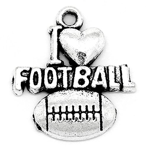 Housweety 50pcs Metal Charm Pendants Letters Carved Heart Football Silver Tone 20mmx18mm