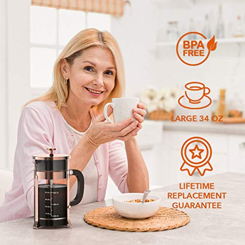 French Press Coffee and Tea Maker(34oz),304 Stainless Steel Coffee Press with 4 Filters Screen-100% No Residue -German Heat-Resistant Borosilicate Glass- BPA FREE-Dishwasherable,Copper