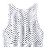 Women Fashion Netted Blouse Round Neck Vest Tank for Top Casual Sleeveless Cami T Shirt Scoop Neck White