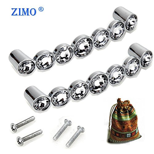 Zimo 2PCS Clear Crystal Glass Pullhandle For Cupboard Wardrobe Cabinet  Drawer Home Decor Door Pull Handles