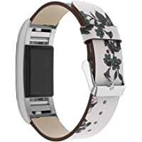 HARRYSTORE Leather Straps Replacement For Fitbit Charge 2 - Band Compatible For Fitbit Charge 2 Women Men - Flower Design Christmas Gift Present