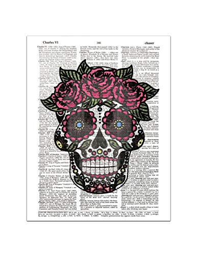Sugar Skull (#1) Female - Day of the Dead - Halloween - Dictionary Page Art Print, 8x11 UNFRAMED for $<!--$12.99-->