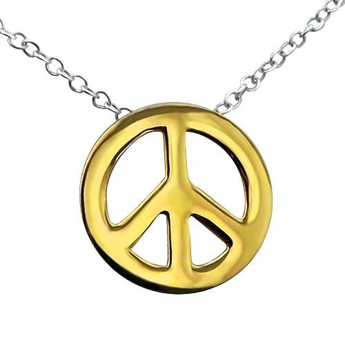 af56dcbc3ea8 Laimons Damen-Halskette peace vergoldet mit Kette 45cm glanz Sterling Silber  925